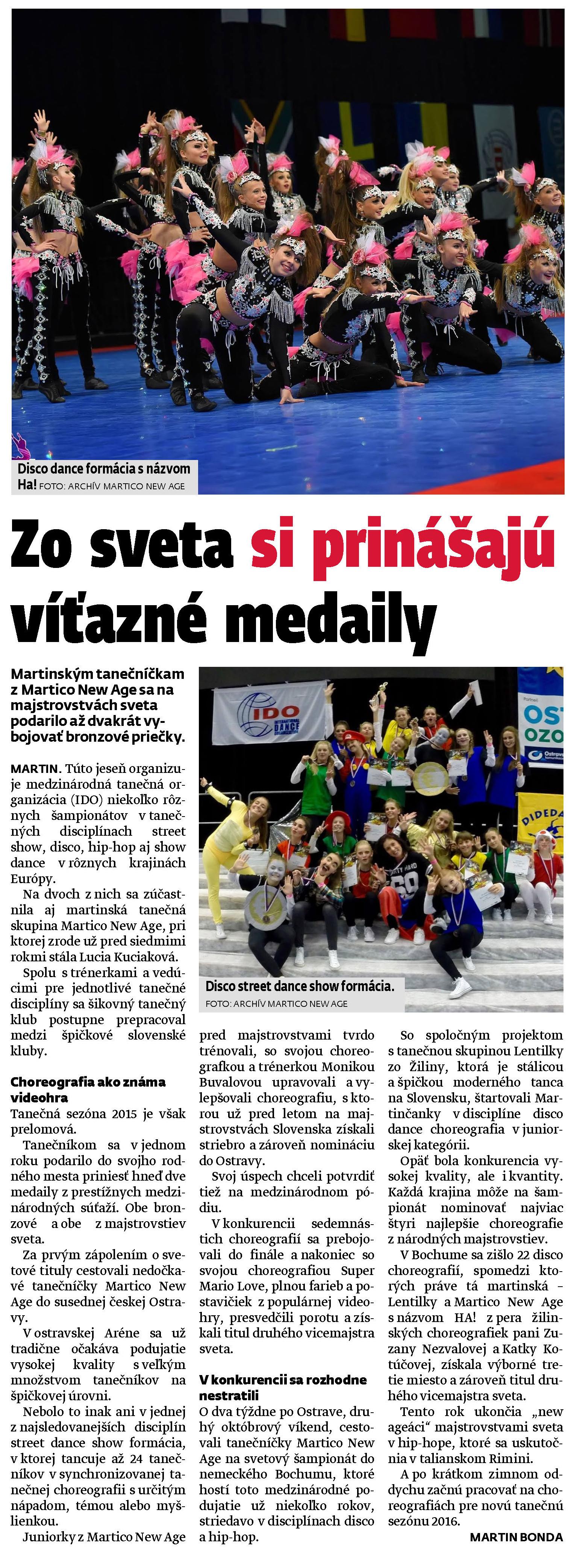 Článok o úspechoch Martico New Age na Majstrovstvách sveta 2015